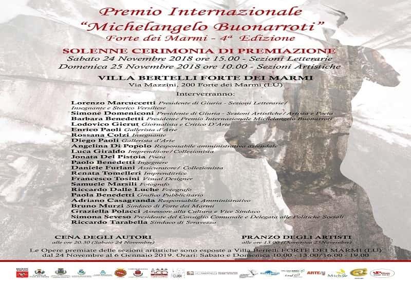 Premio Internazionale Michelangelo Buonarotti – premiazione Arti Figurative
